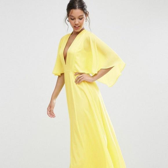9b83bab492 ASOS Dresses   Skirts - ASOS Deep Plunge Cape Sleeve Maxi Dress
